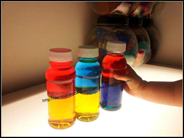 In The Second Bottle, I Poured Blue Lamp Oil And Yellow Colored Water. In  The Third Bottle, I Poured Red Lamp Oil And Yellow Colored Water.
